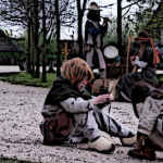 Medieval Children Playing on a Medieval Village Road